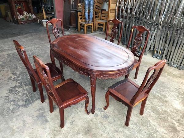 Bộ bàn ăn gỗ cẩm lai 6 ghế thanh lý